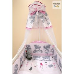 Rózsaszín pelenkás maci 4 részes babaágynemű szett (465/R)