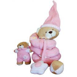 Baby Bruin Plüss spirál csörgős, sípolós játék rózsaszín